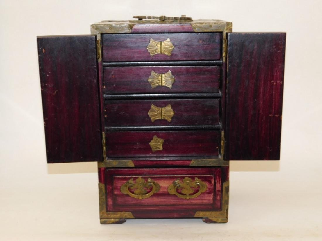 CHINESE JEWELRY BOX WITH BRASS AND BONE CARVINGS - 2