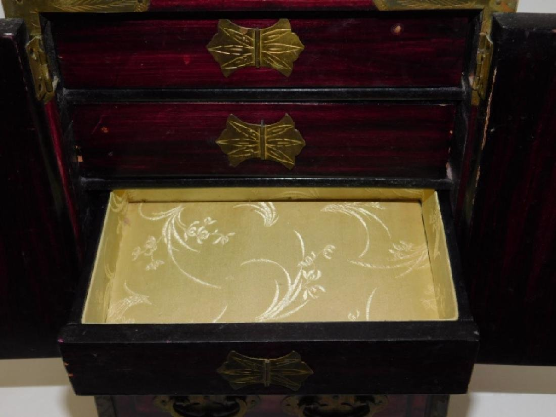 CHINESE JEWELRY BOX WITH BRASS AND BONE CARVINGS - 3