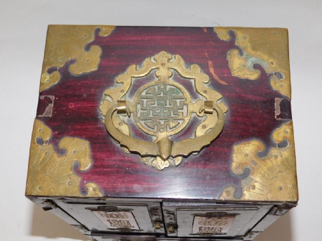 CHINESE JEWELRY BOX WITH BRASS AND BONE CARVINGS - 6