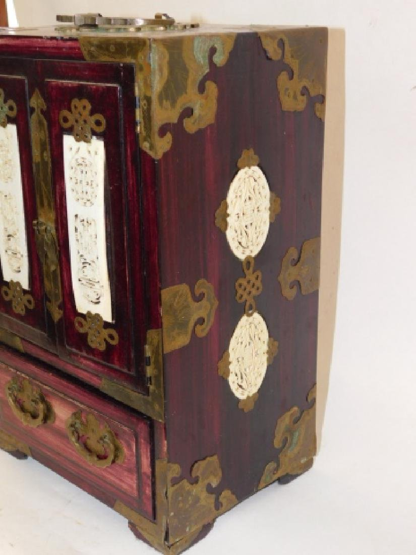 CHINESE JEWELRY BOX WITH BRASS AND BONE CARVINGS - 7