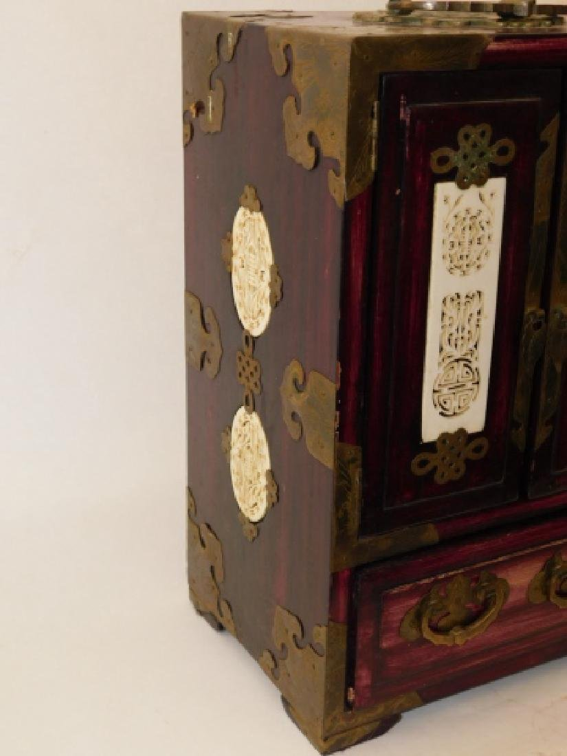 CHINESE JEWELRY BOX WITH BRASS AND BONE CARVINGS - 8