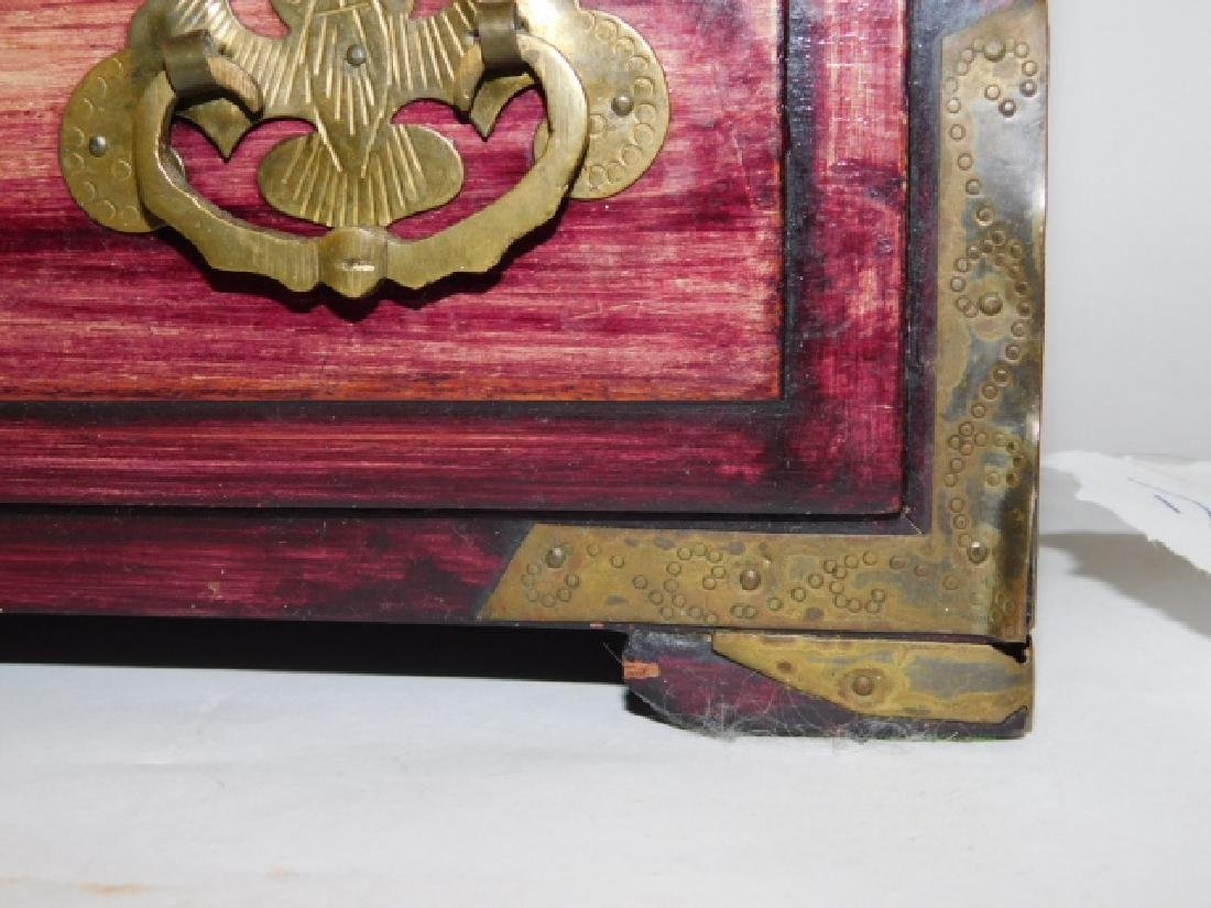 CHINESE JEWELRY BOX WITH BRASS AND BONE CARVINGS - 9