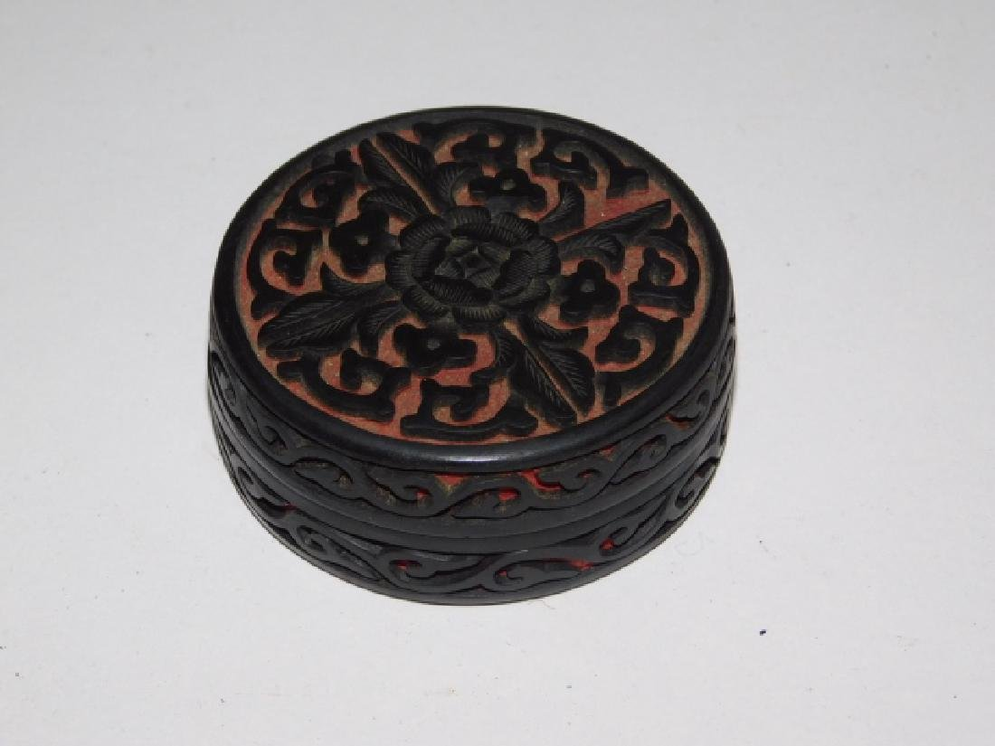 CINNABAR CARVED BOX