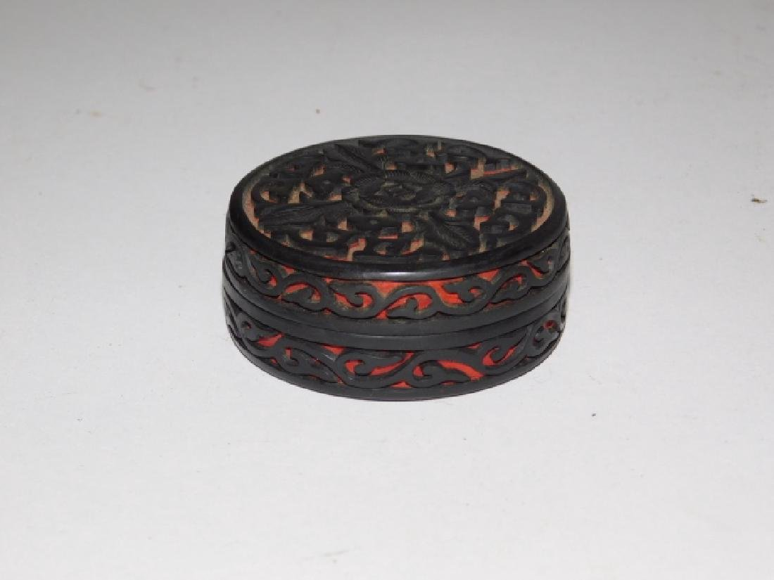 CINNABAR CARVED BOX - 2