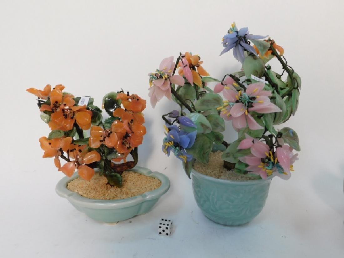 JADE FLOWER ARRANGEMENTS IN CELEDON POTS