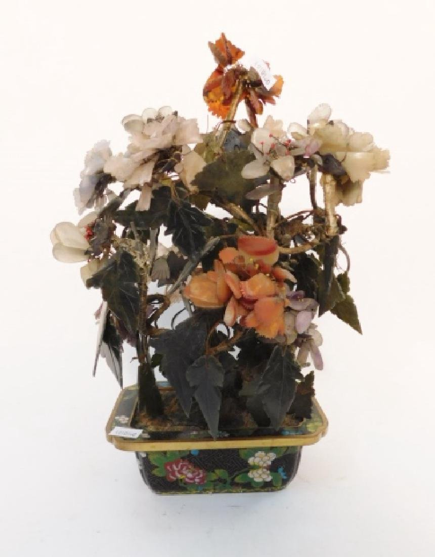 JADE FLOWER ARRANGEMENT IN CLOISONNE BOWL