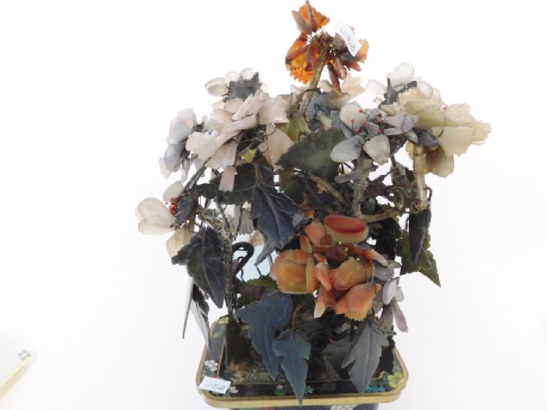 JADE FLOWER ARRANGEMENT IN CLOISONNE BOWL - 3