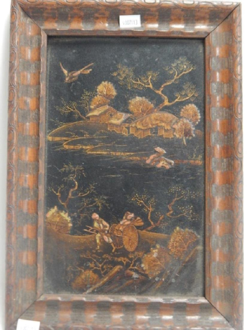 JAPANESE DECORATED WOOD PANEL
