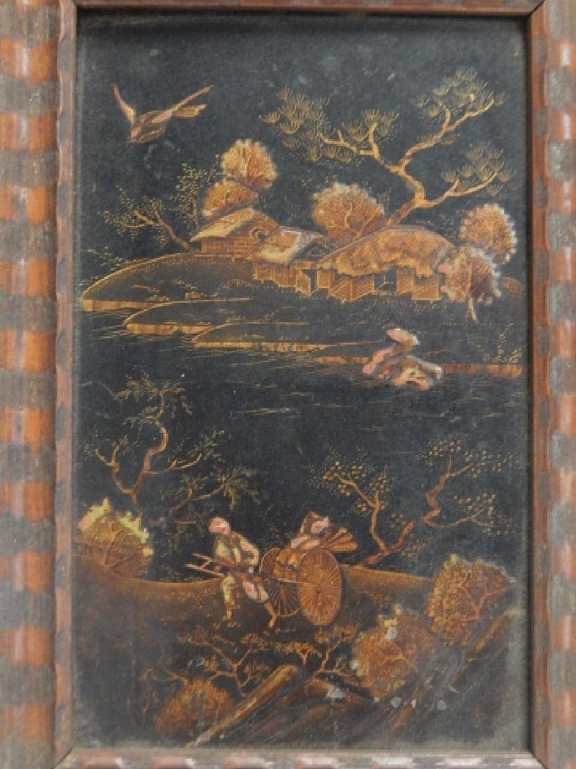 JAPANESE DECORATED WOOD PANEL - 2