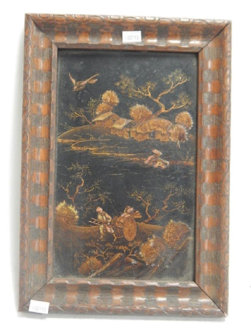JAPANESE DECORATED WOOD PANEL - 3