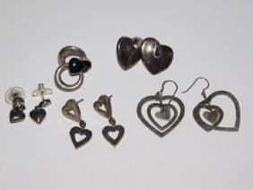 FIVE PAIRS OF STERLING SILVER EARRINGS