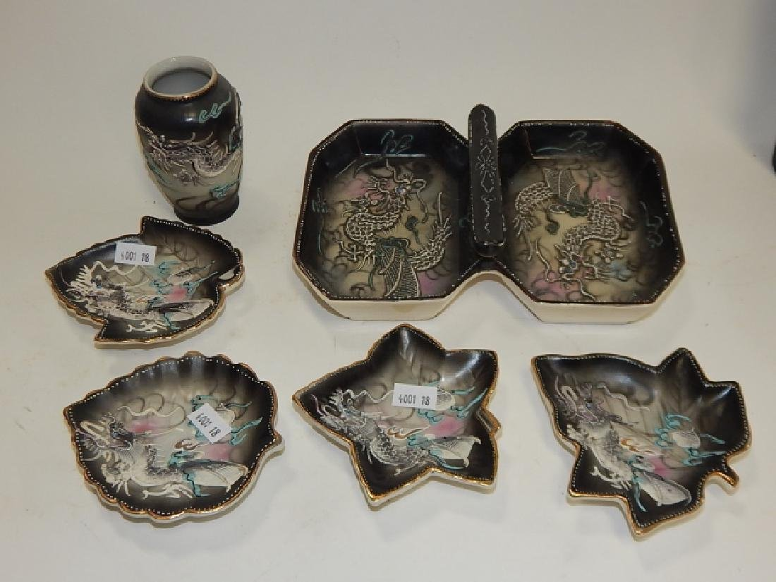 ASSORTED DRAGONWARE DISHES AND VASE