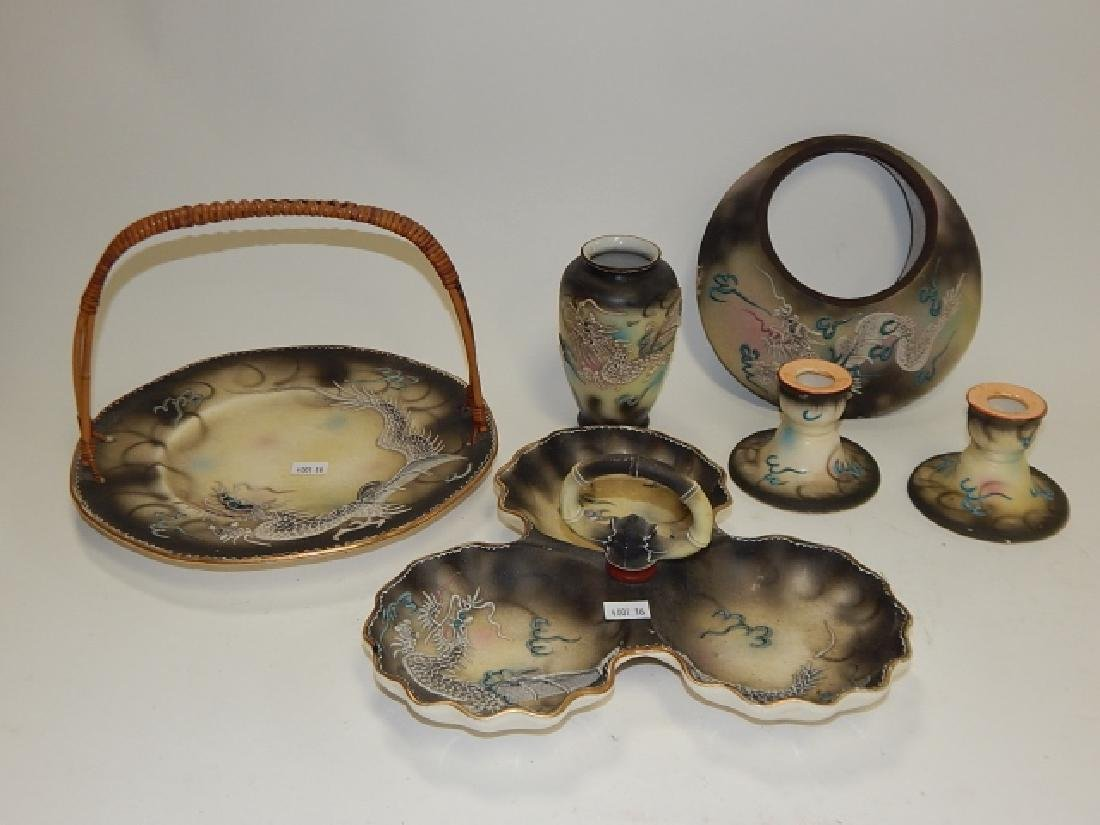 ASSORTED DRAGONWARE DISHES, WALL POCKETS
