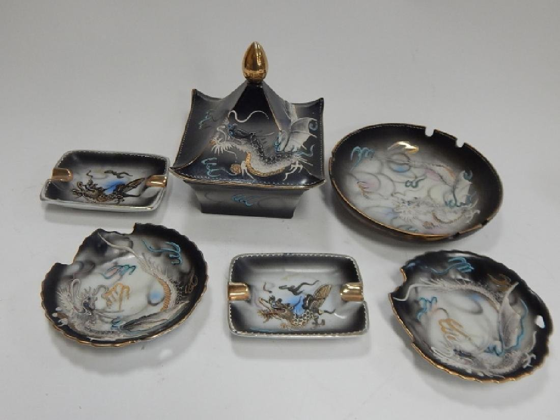 ASSORTED DRAGONWARE DISHES AND ASH TRAYS