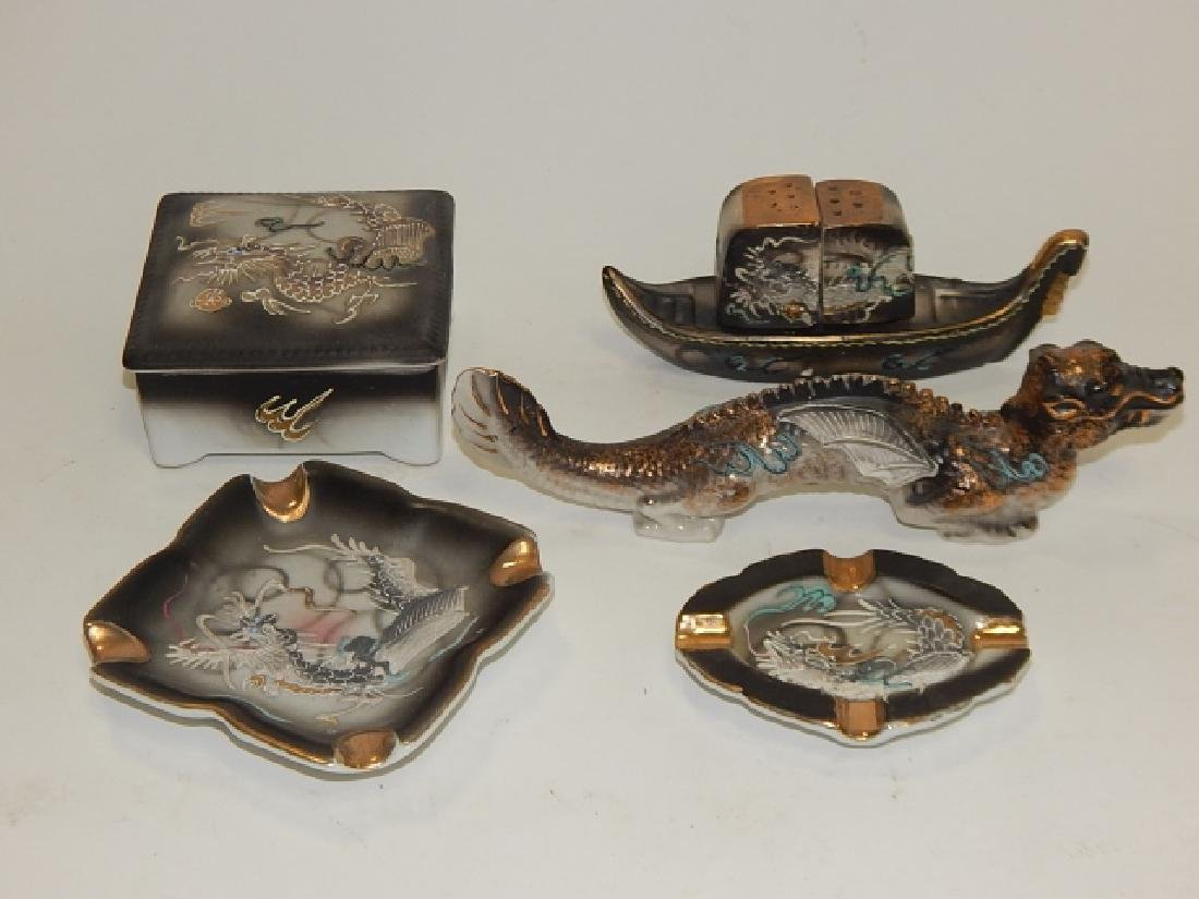 ASSORTED DRAGONWARE COVERED BOX, ASH TRAYS, & MORE