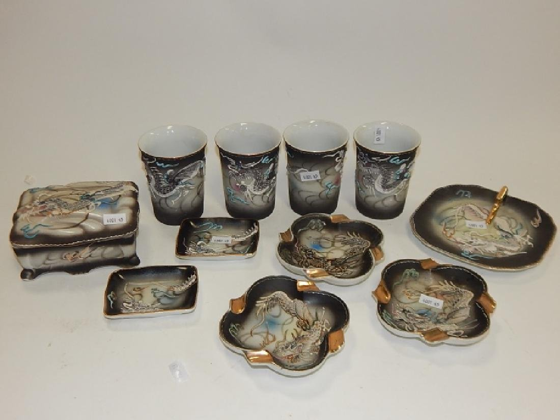 ASSORTMENT OF DRAGONWARE CUPS, BOXES, ASH TRAYS
