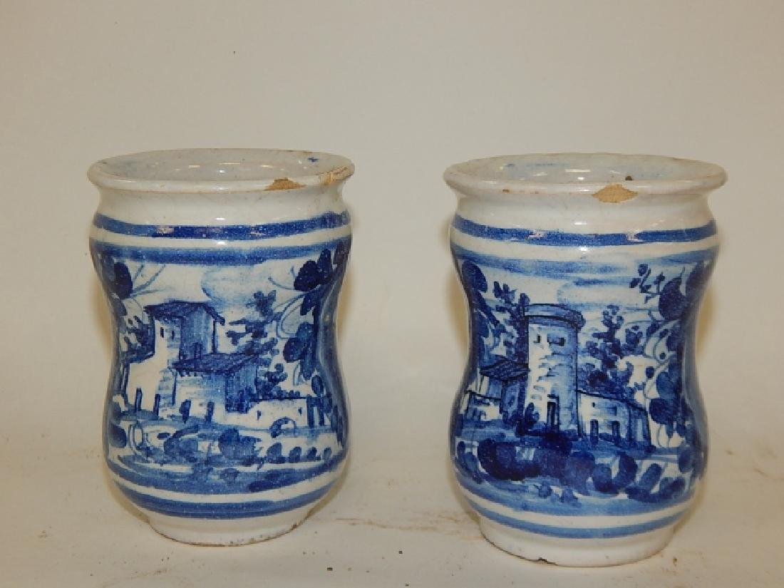 PAIR OF BLUE AND WHITE CHINESE BRUSH POTS