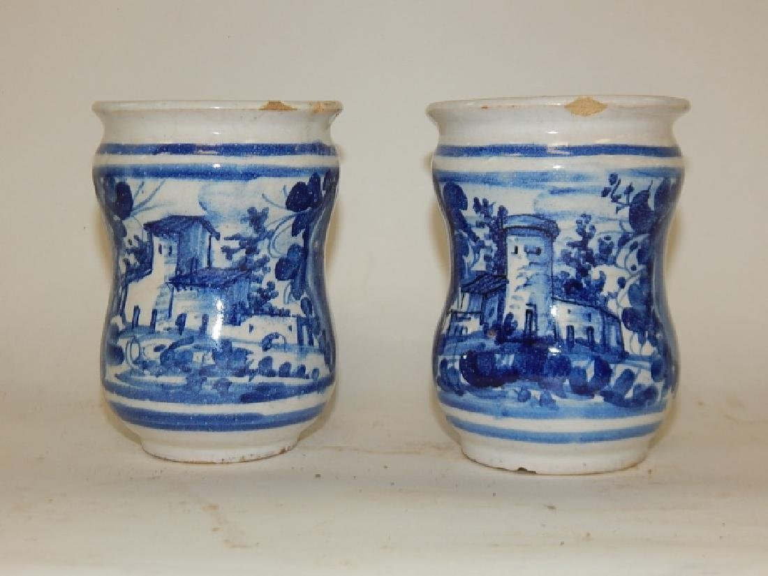 PAIR OF BLUE AND WHITE CHINESE BRUSH POTS - 2