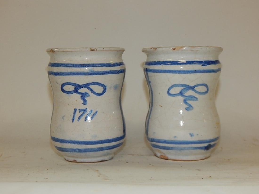 PAIR OF BLUE AND WHITE CHINESE BRUSH POTS - 3