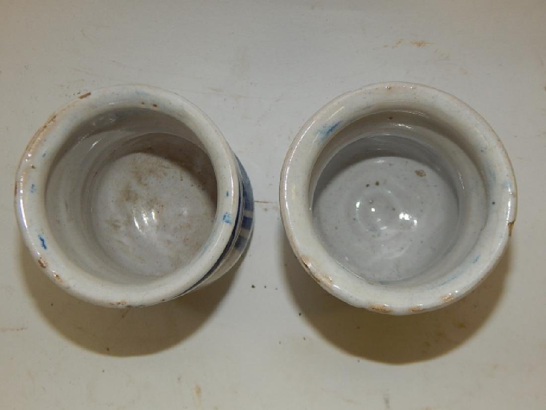 PAIR OF BLUE AND WHITE CHINESE BRUSH POTS - 4