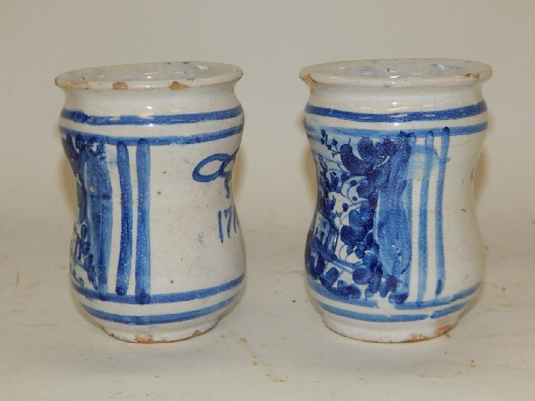 PAIR OF BLUE AND WHITE CHINESE BRUSH POTS - 6
