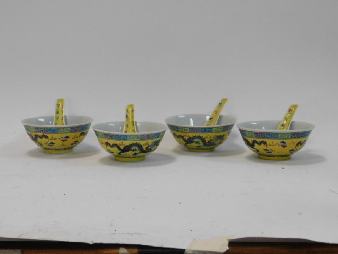 CHINESE PORCELAIN DRAGON BOWL AND SPOON SET
