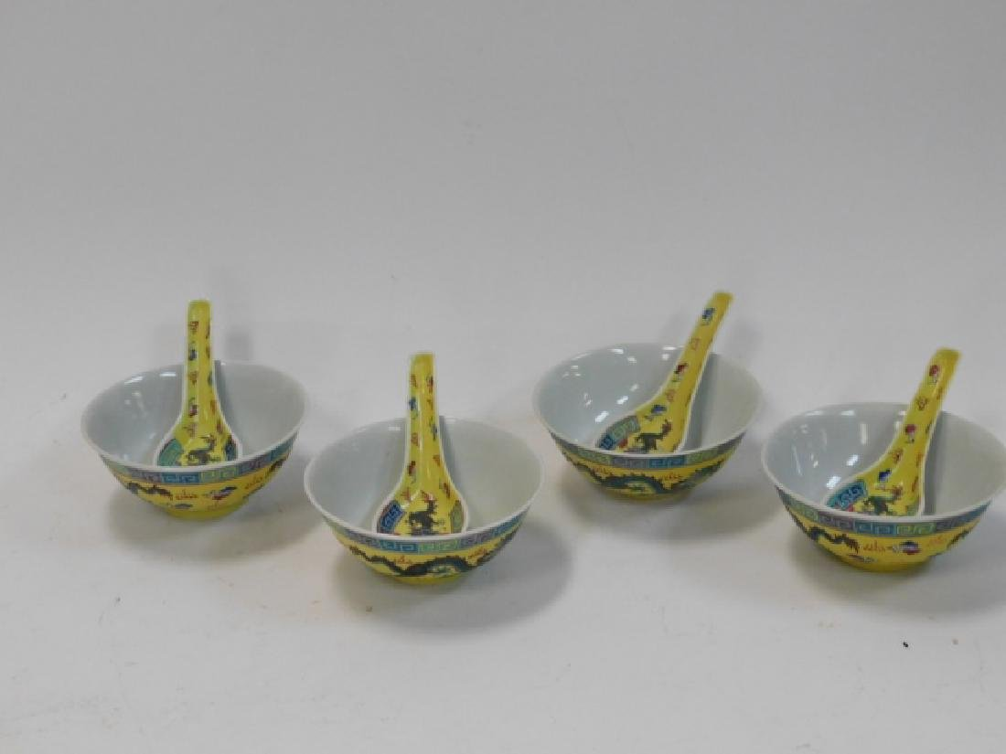 CHINESE PORCELAIN DRAGON BOWL AND SPOON SET - 2