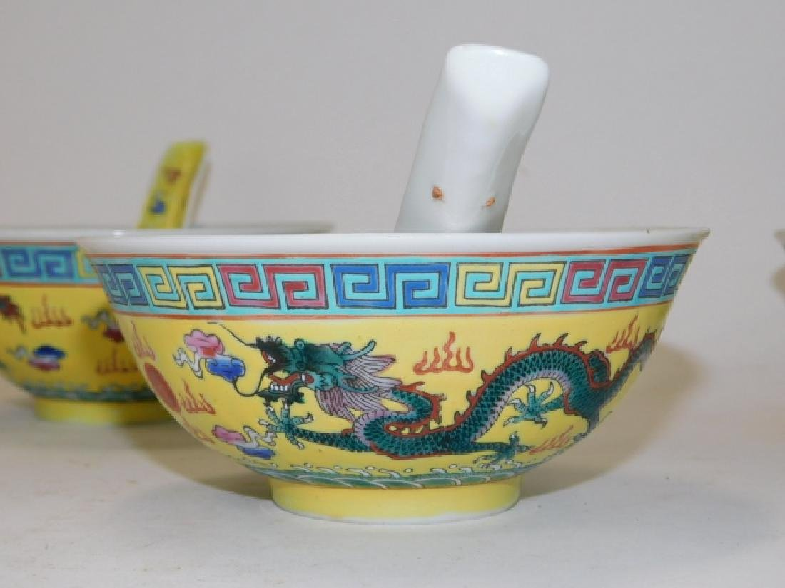 CHINESE PORCELAIN DRAGON BOWL AND SPOON SET - 5