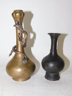 TWO CHINESE BRASS AND BRONZE VASES