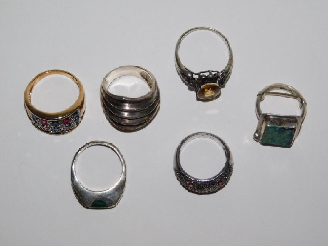 SIX STERLING SILVER RINGS - 2