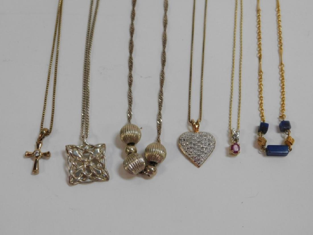SIX STERLING SILVER NECKLACES