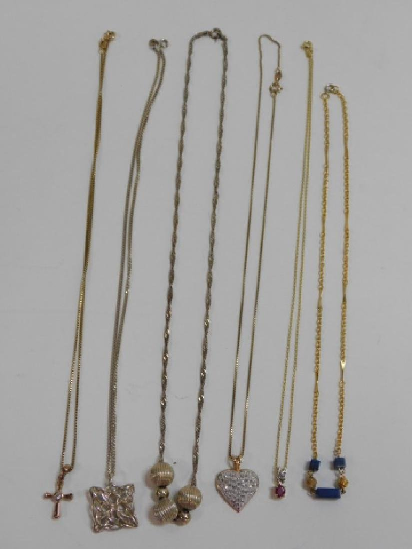 SIX STERLING SILVER NECKLACES - 2