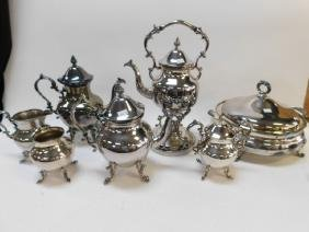 LARGE COLLECTION OF SILVER PLATE SERVING PIECES