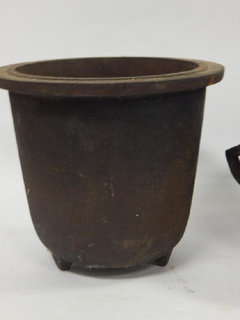 TWO CAST IRON COOKING POTS - 4