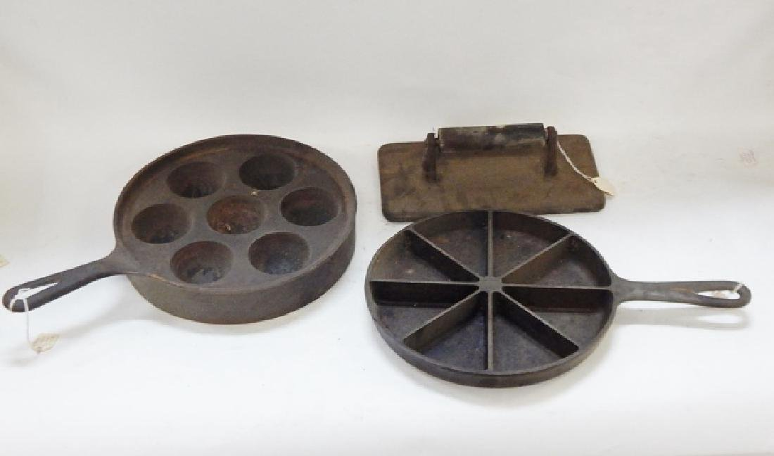 CAST IRON SKILLETS AND PRESS