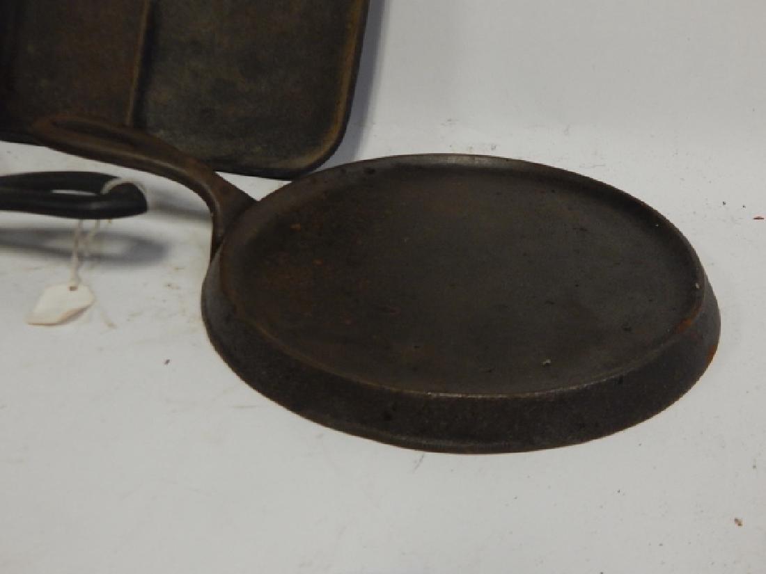 THREE CAST IRON PANS - 4