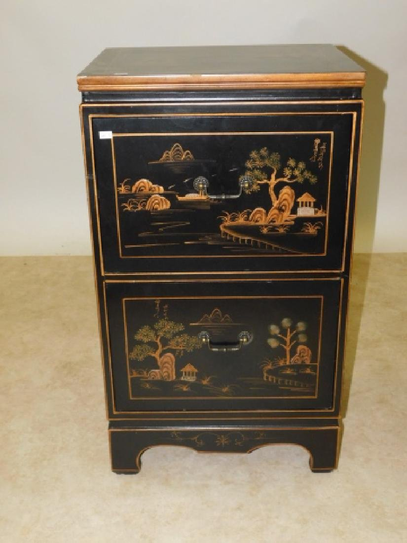 2 DRAWER ORIENTAL NIGHTSTAND