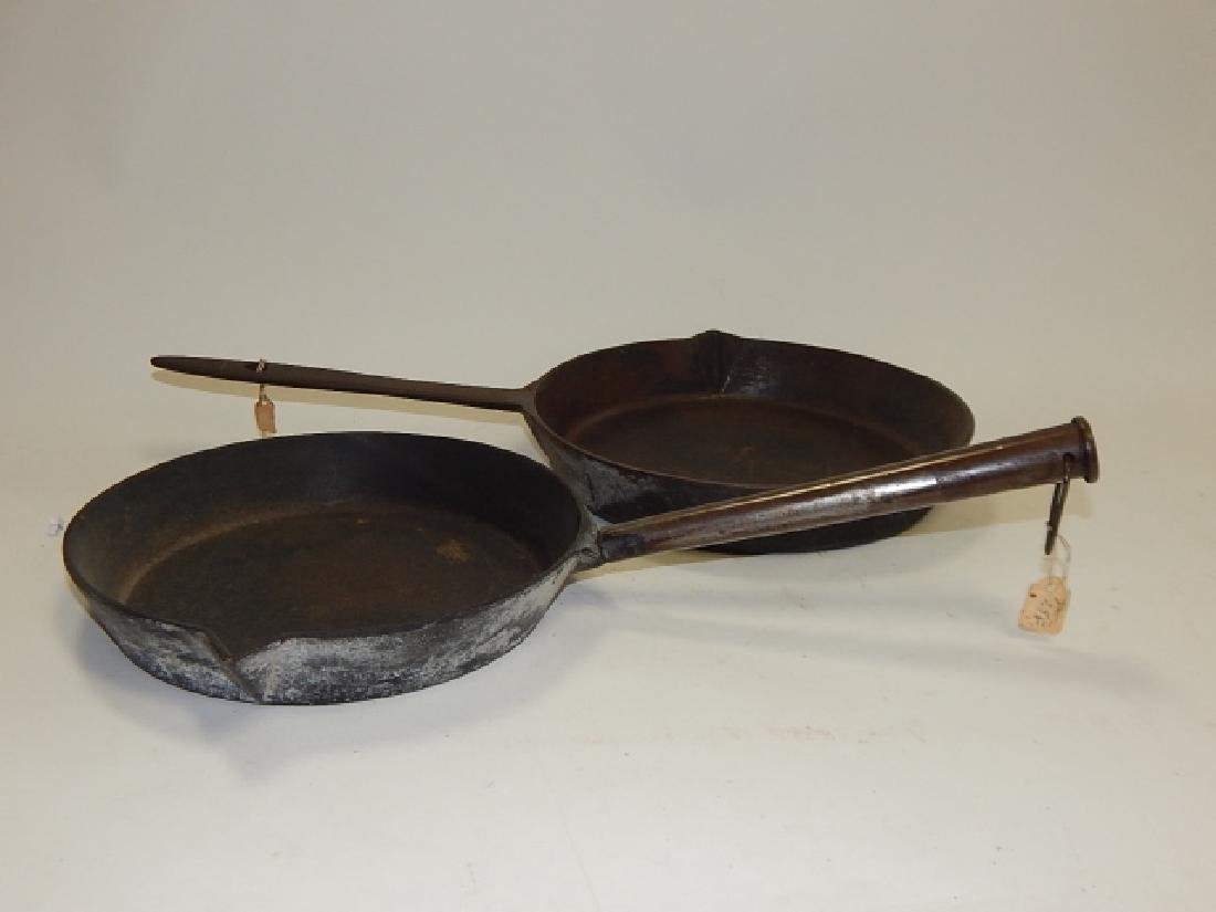 TWO CAST IRON FRYING PANS - 2