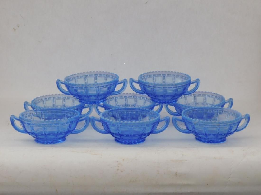 SET OF 8 BLUE GLASS BOWLS