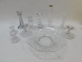 ASSORTMENT OF CRYSTAL CANDLE HOLDERS AND CONSOLE
