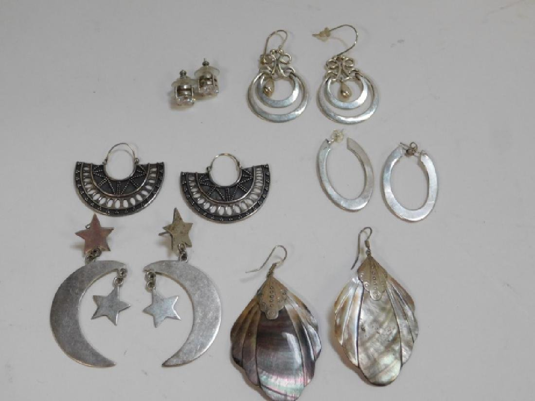 SIX PAIRS OF STERLING SILVER EARRINGS