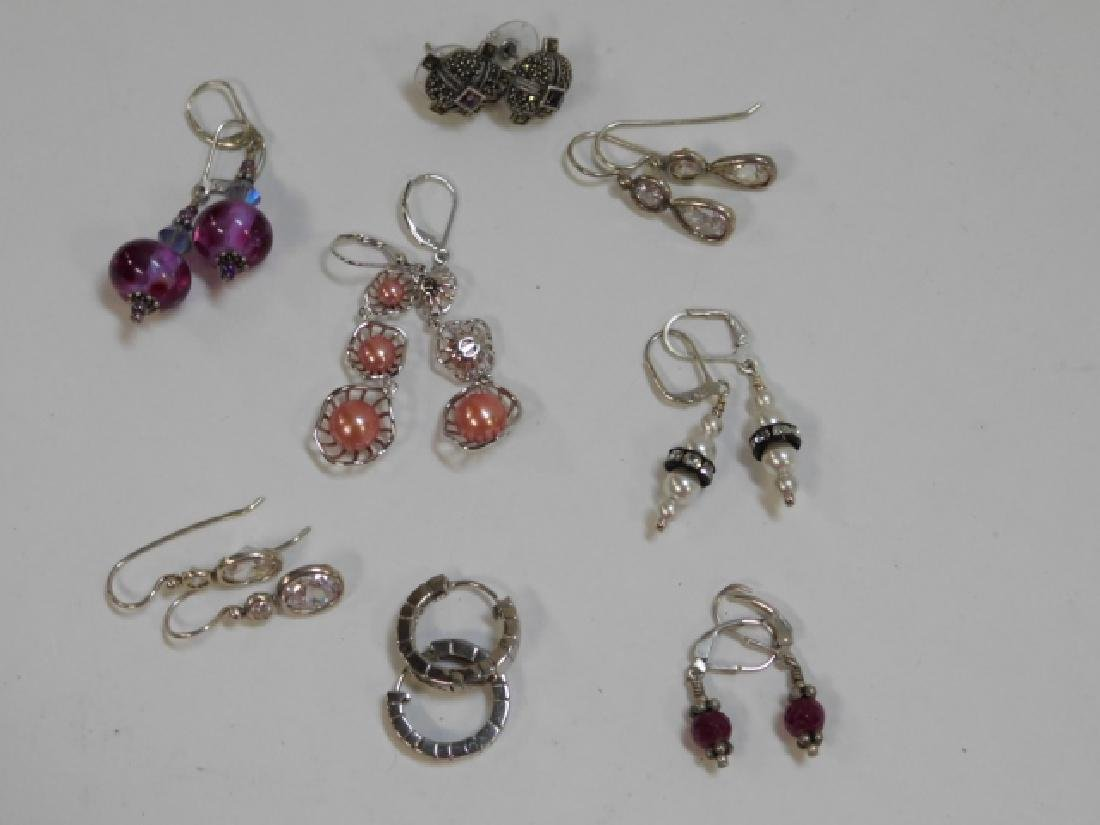 EIGHT PAIRS OF STERLING SILVER EARRINGS