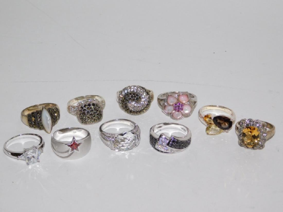 TEN STERLING SILVER RINGS