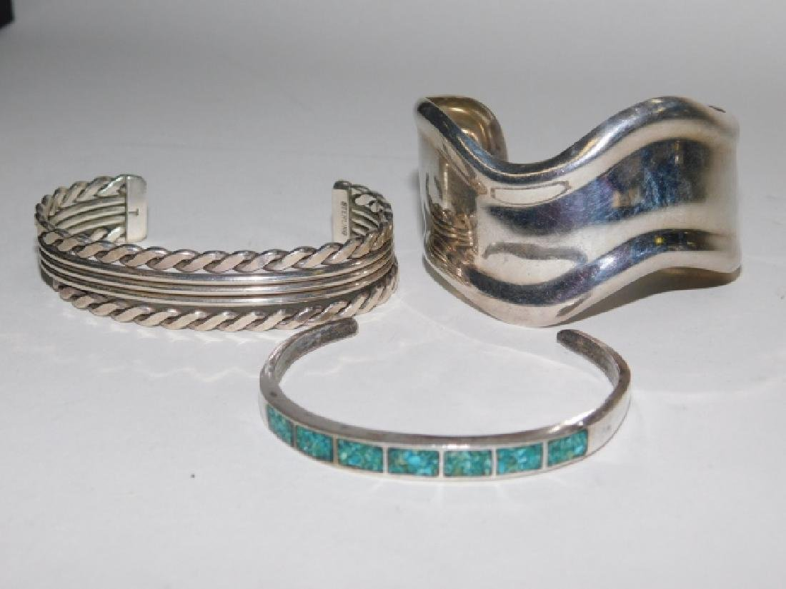 THREE STERLING CUFF BRACELETS