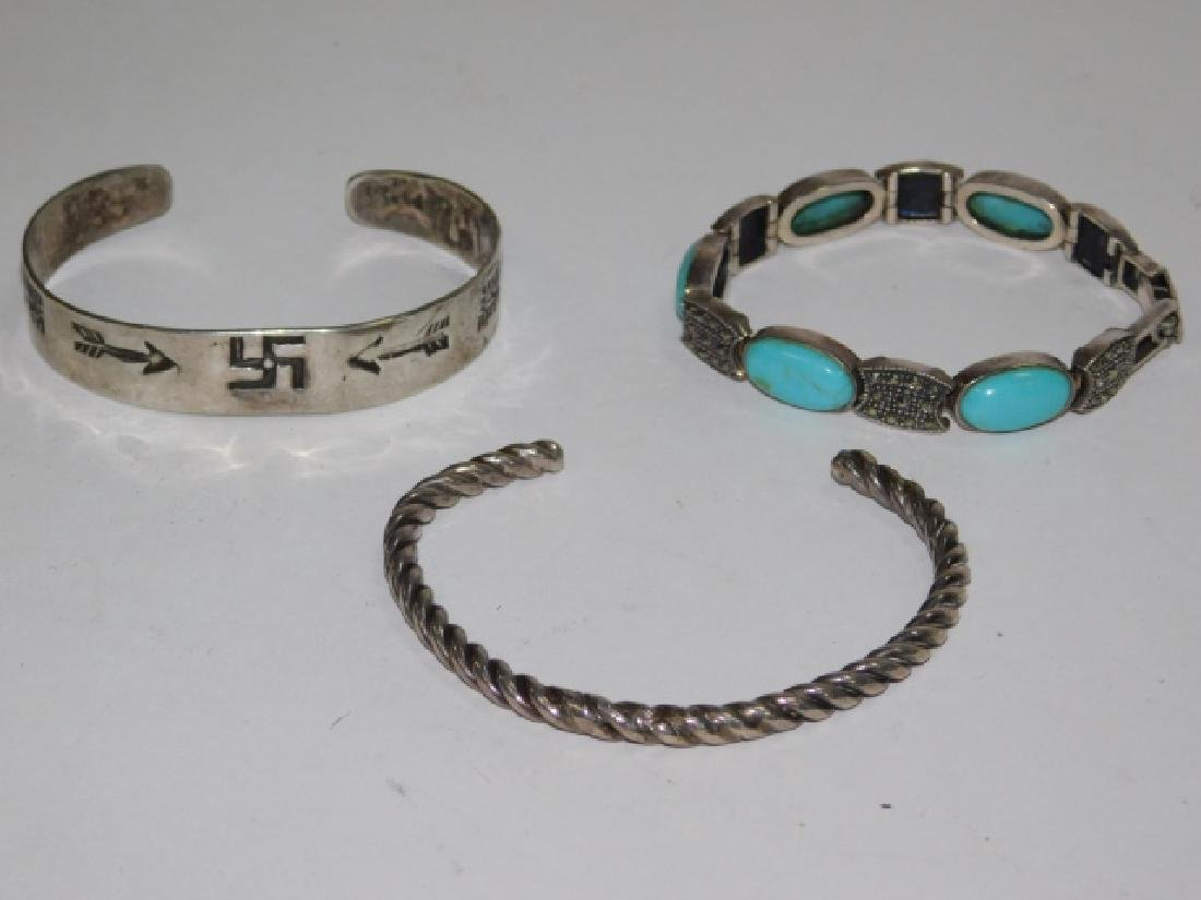 THREE STERLING SILVER CUFF BRACELETS