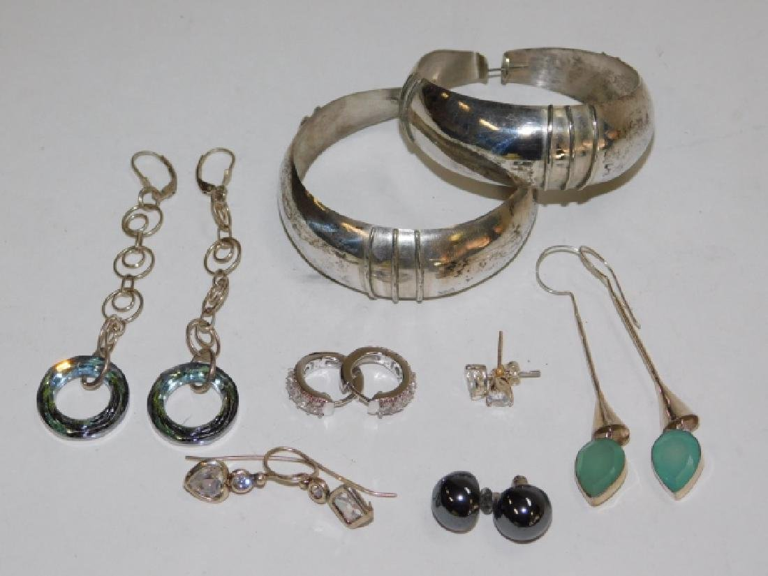 SEVEN PAIRS OF STERLING SILVER EARRINGS