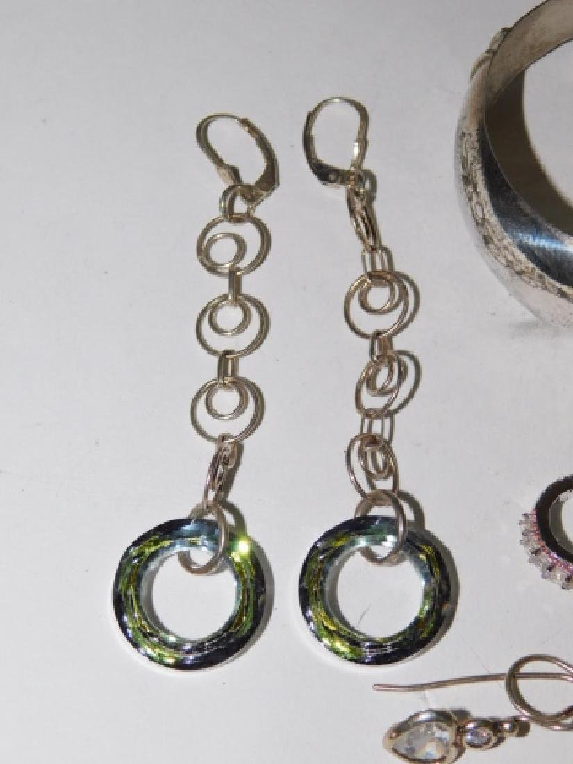 SEVEN PAIRS OF STERLING SILVER EARRINGS - 4
