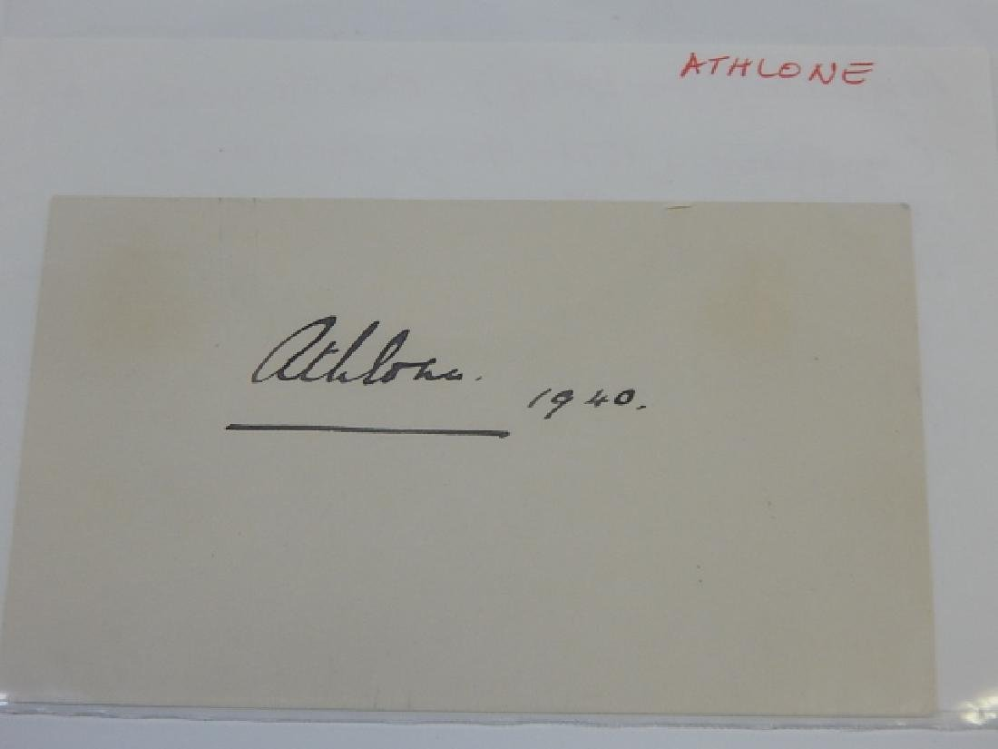 EARL OF ATHLONE AUTOGRAPHED CARD