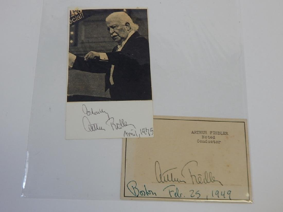 ARTHUR FIEDLER SIGNED POSTCARD AND NEWSPAPER PHOTO