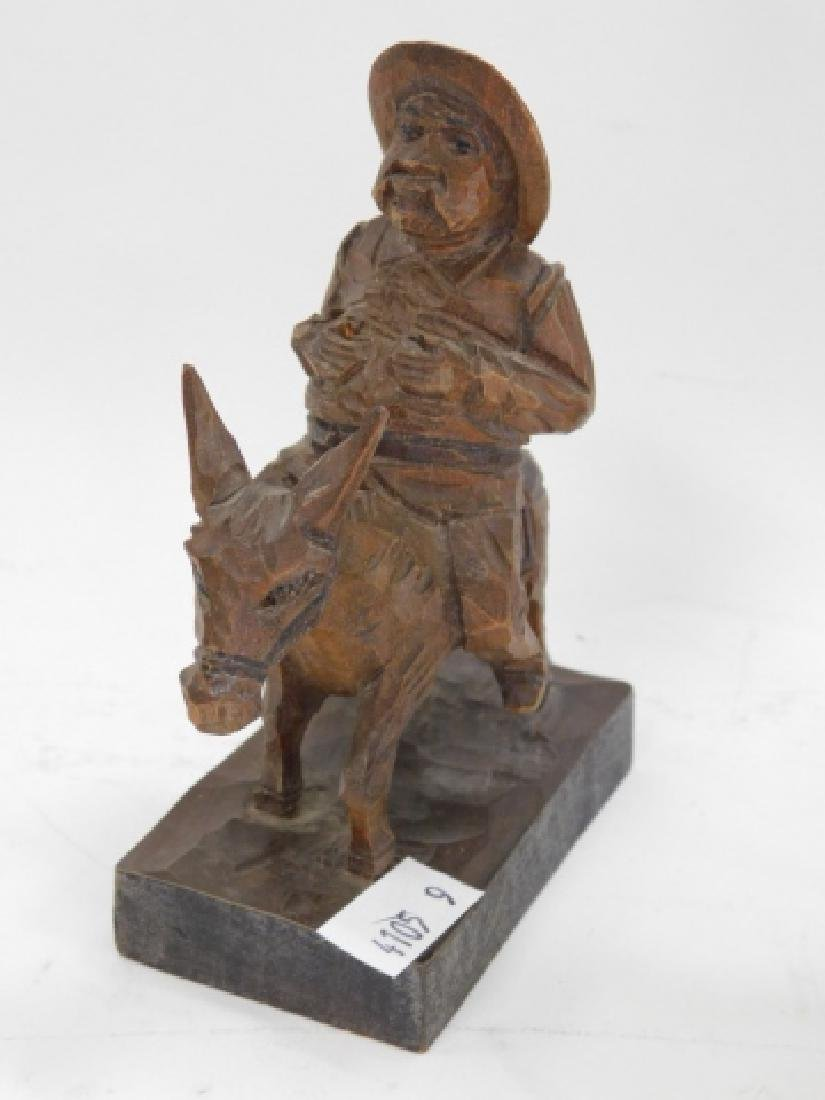 BRONZE FIGURE WITH TWO WOOD CARVED FIGURES - 7